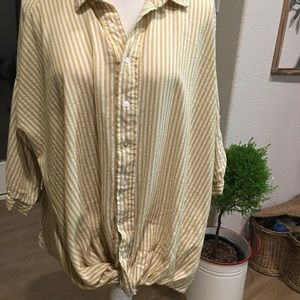 Mustard & white blouse with tie know in front M